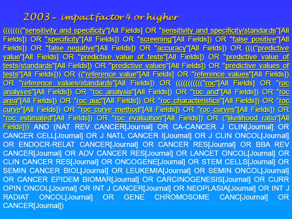 2003 – impact factor 4 or higher ((((((((