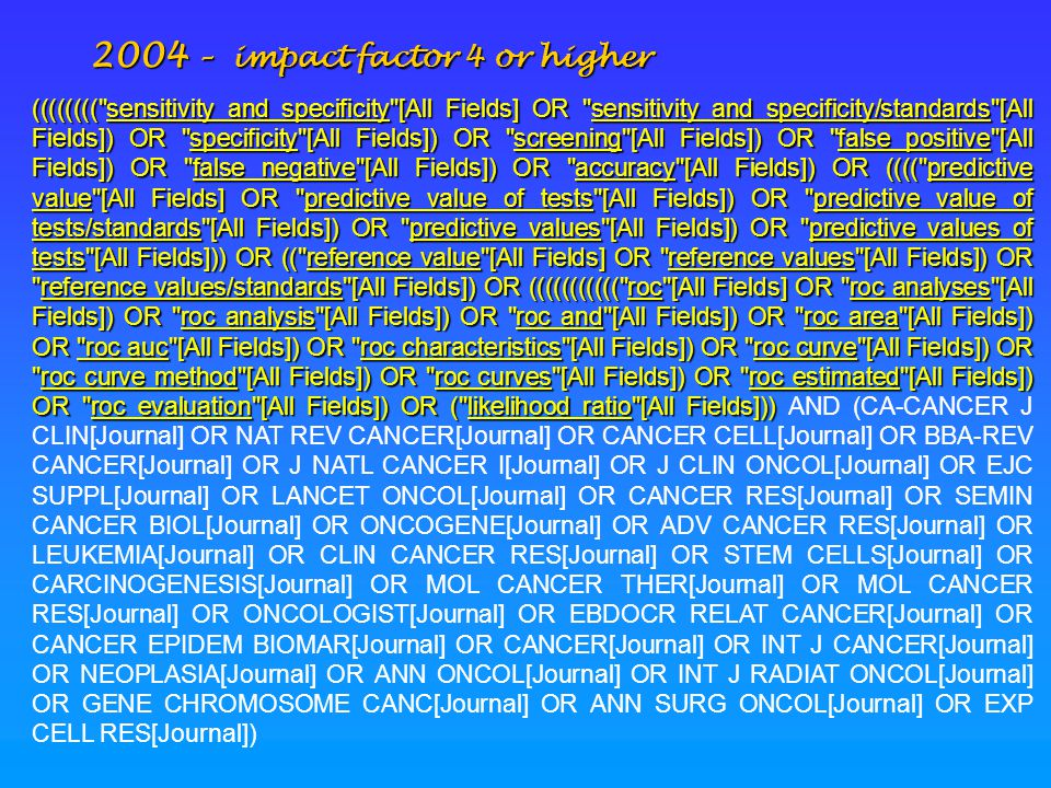 2004 – impact factor 4 or higher ((((((((