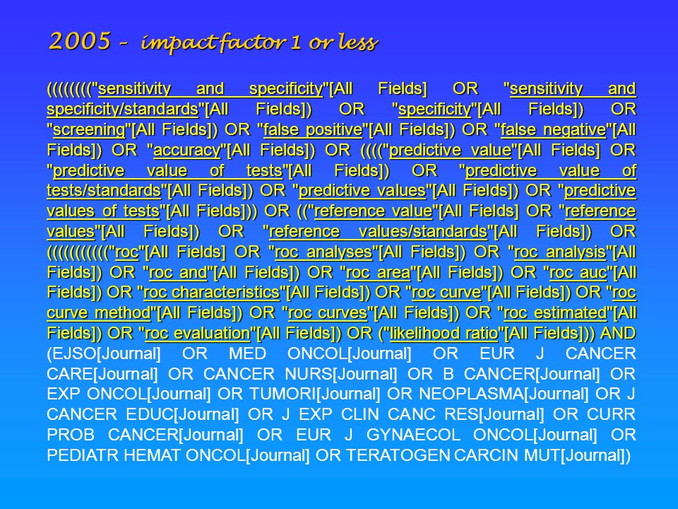 2005 – impact factor 1 or less ((((((((