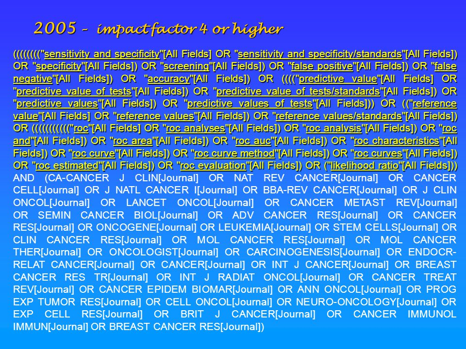 2005 – impact factor 4 or higher ((((((((