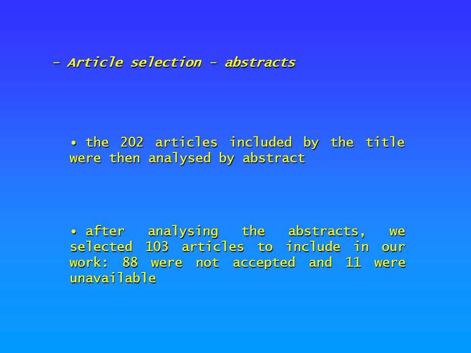 - Article selection - abstracts the 202 articles included by the title were then analysed by abstract the 202 articles included by the title were then
