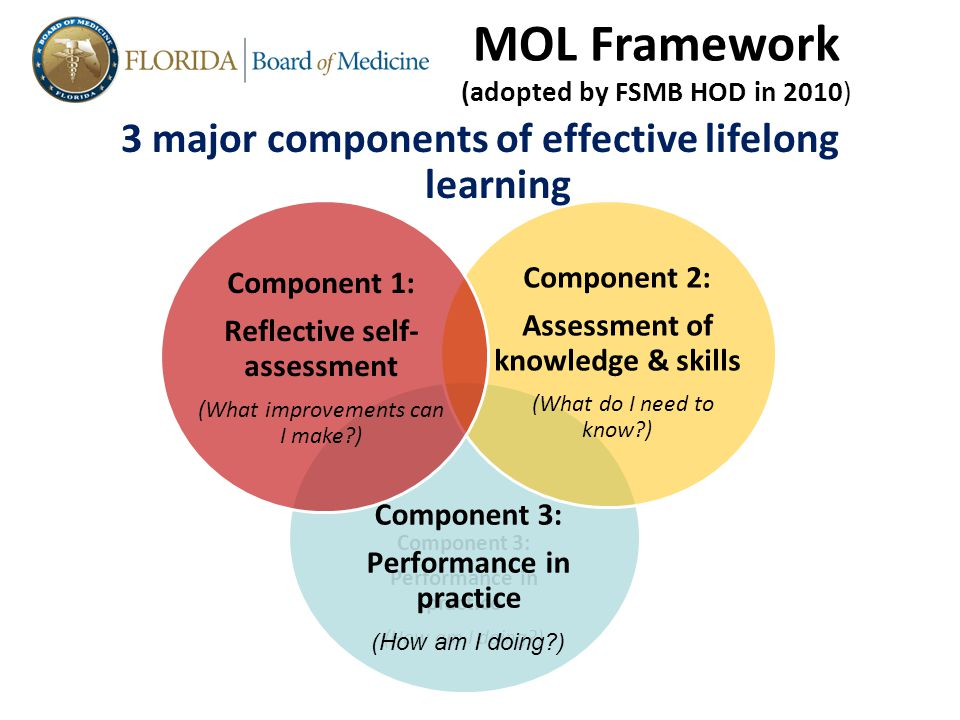 Component 3: Performance in practice (How am I doing ) Component 3: Performance in practice (How am I doing ) Component 2: Assessment of knowledge & skills (What do I need to know ) Component 1: Reflective self- assessment (What improvements can I make ) 3 major components of effective lifelong learning MOL Framework (adopted by FSMB HOD in 2010)