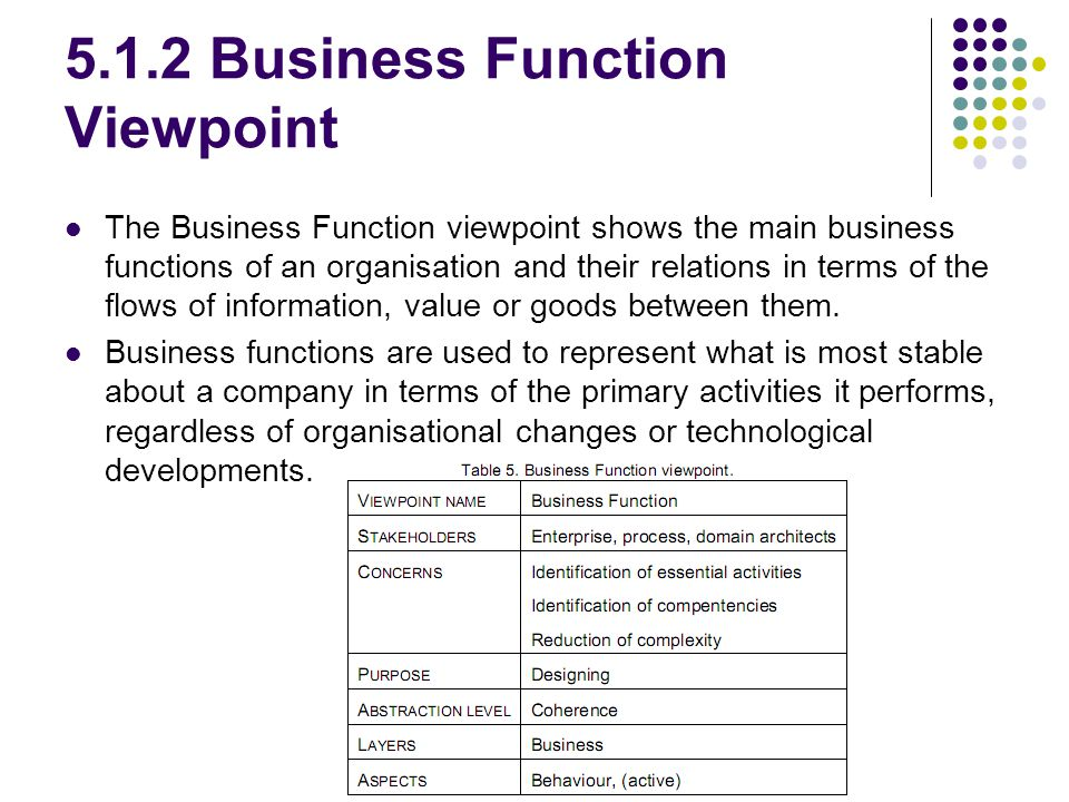 5.1.2 Business Function Viewpoint The Business Function viewpoint shows the main business functions of an organisation and their relations in terms of the flows of information, value or goods between them.
