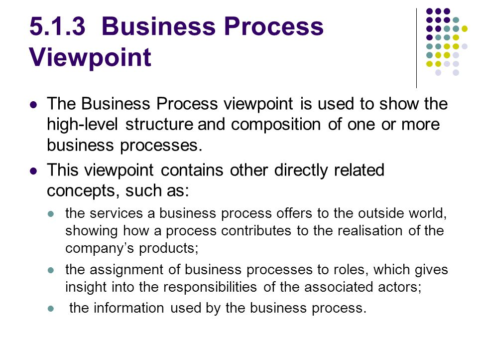 5.1.3 Business Process Viewpoint The Business Process viewpoint is used to show the high-level structure and composition of one or more business processes.