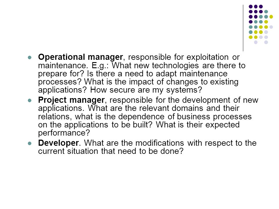 Operational manager, responsible for exploitation or maintenance.
