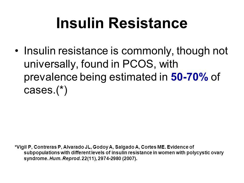 Insulin Resistance Insulin resistance is commonly, though not universally, found in PCOS, with prevalence being estimated in 50-70% of cases.(*) *Vigi