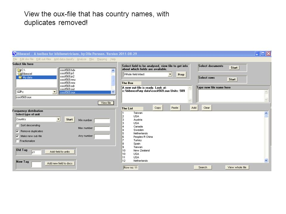 View the oux-file that has country names, with duplicates removed!