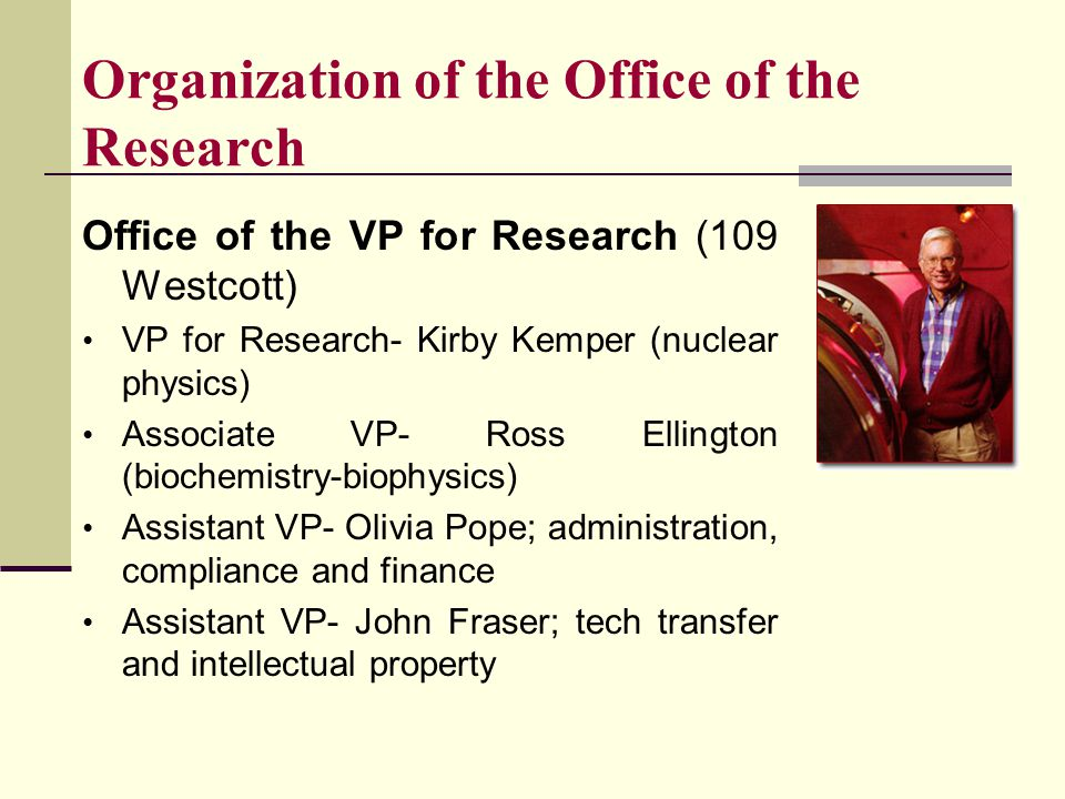 Organization of the Office of the Research Office of the VP for Research (109 Westcott) VP for Research- Kirby Kemper (nuclear physics) Associate VP- Ross Ellington (biochemistry-biophysics) Assistant VP- Olivia Pope; administration, compliance and finance Assistant VP- John Fraser; tech transfer and intellectual property