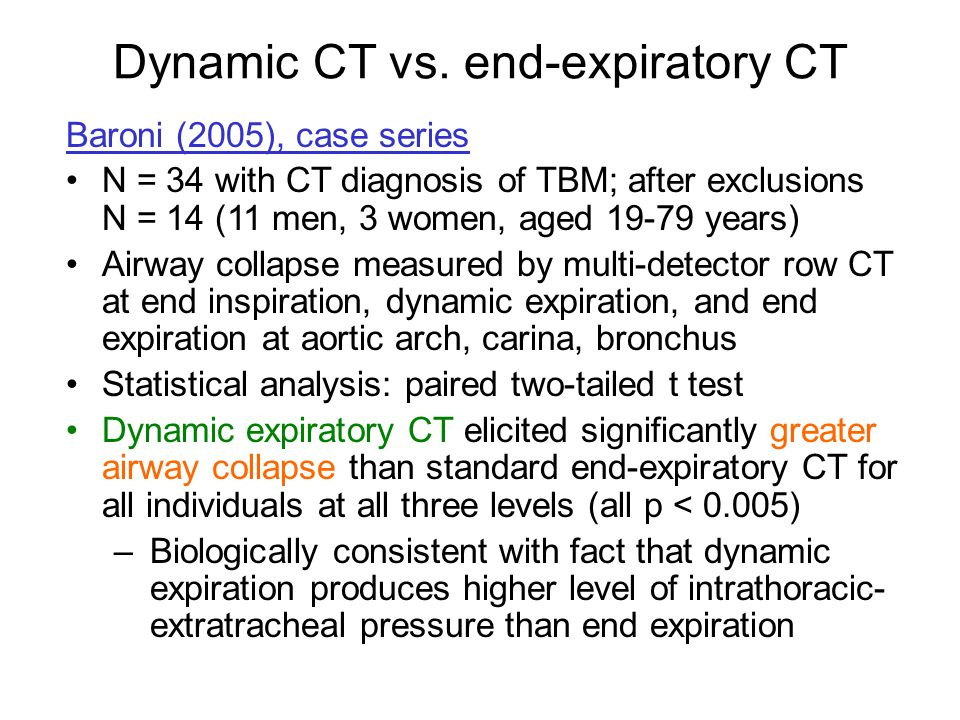 Baroni (2005), case series N = 34 with CT diagnosis of TBM; after exclusions N = 14 (11 men, 3 women, aged 19-79 years) Airway collapse measured by mu
