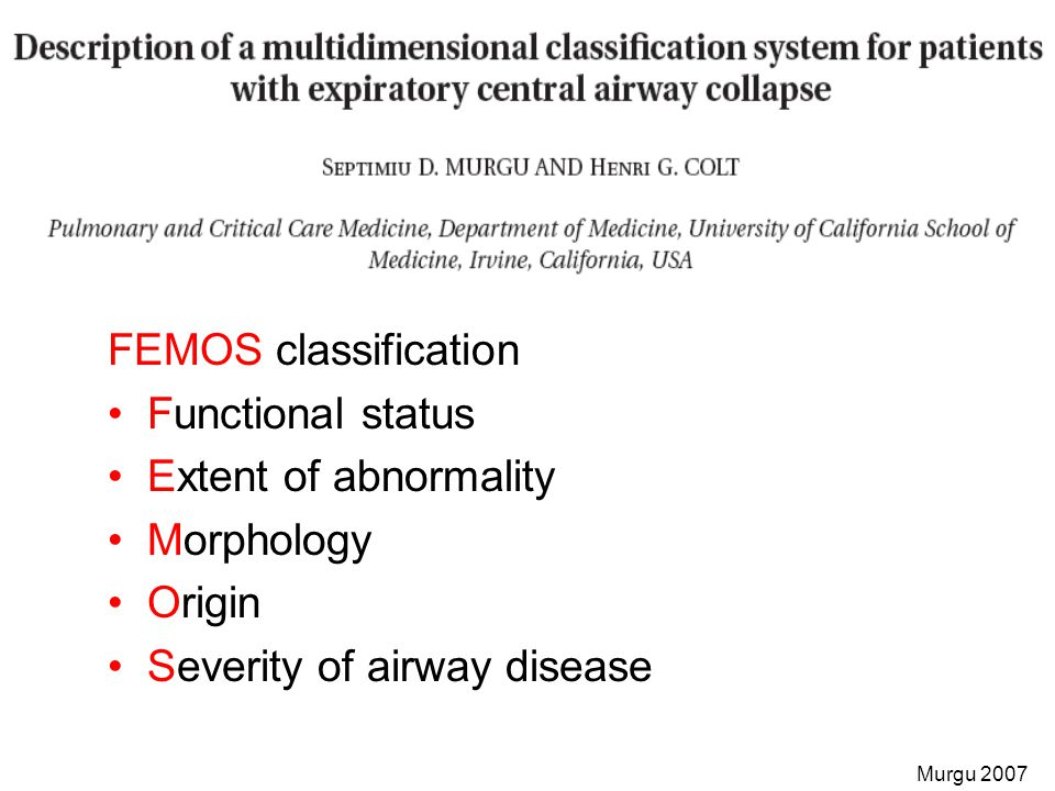 FEMOS classification Functional status Extent of abnormality Morphology Origin Severity of airway disease Murgu 2007
