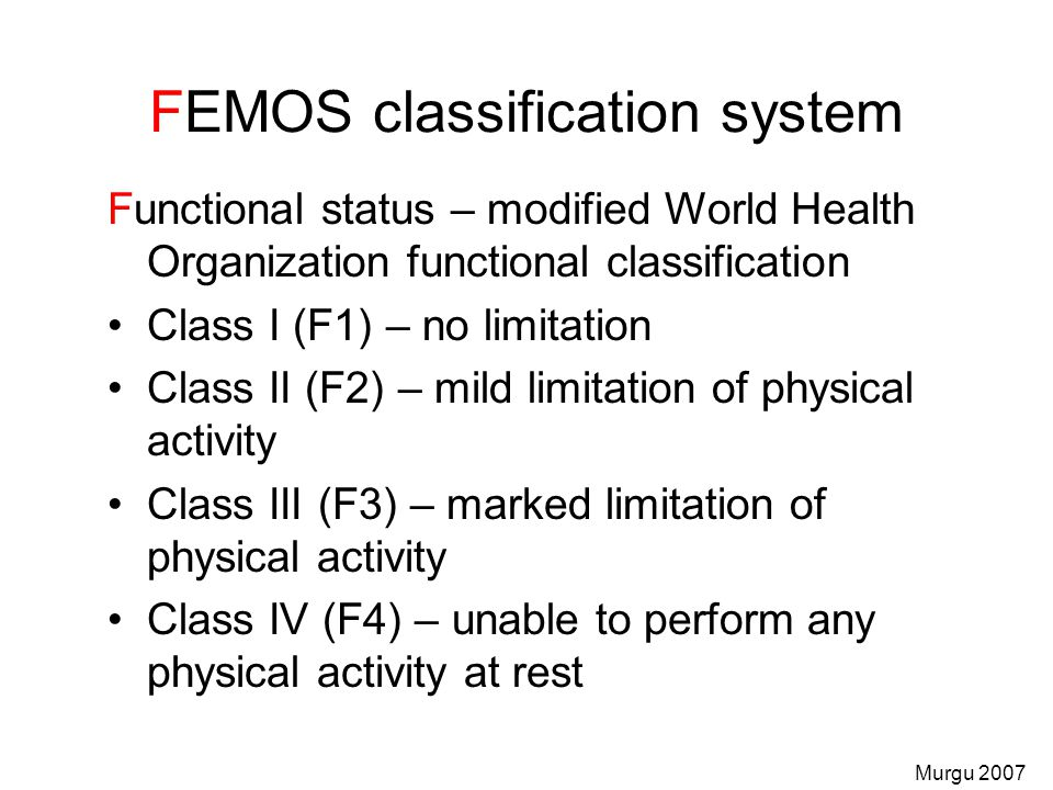FEMOS classification system Functional status – modified World Health Organization functional classification Class I (F1) – no limitation Class II (F2