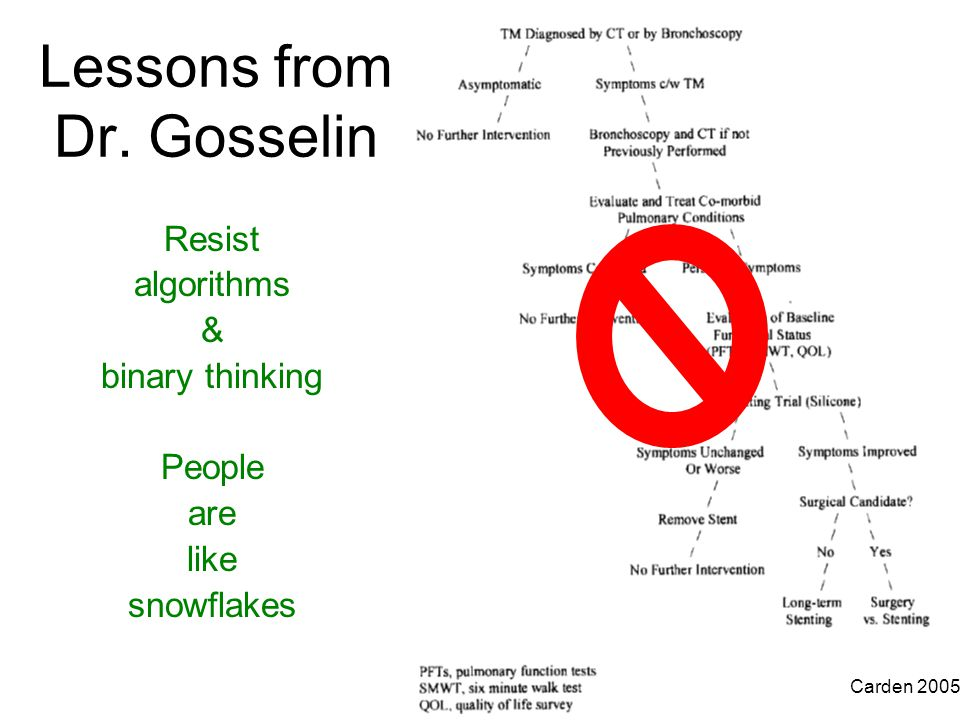 Lessons from Dr. Gosselin Resist algorithms & binary thinking People are like snowflakes Carden 2005