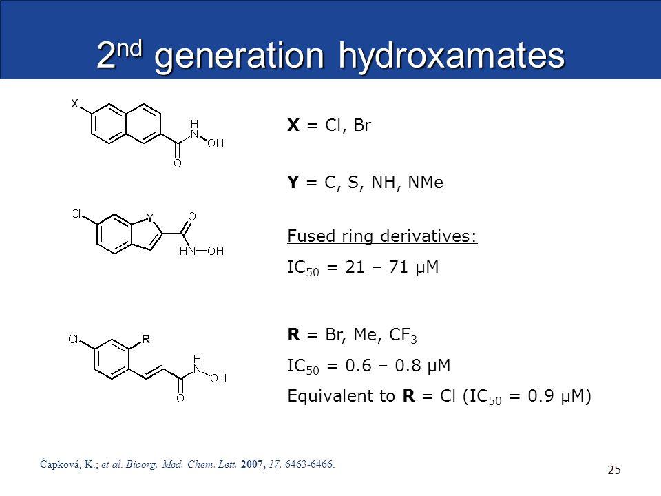 2 nd generation hydroxamates Čapková, K.; et al. Bioorg. Med. Chem. Lett. 2007, 17, 6463-6466. 25 Fused ring derivatives: IC 50 = 21 – 71 μM R = Br, M