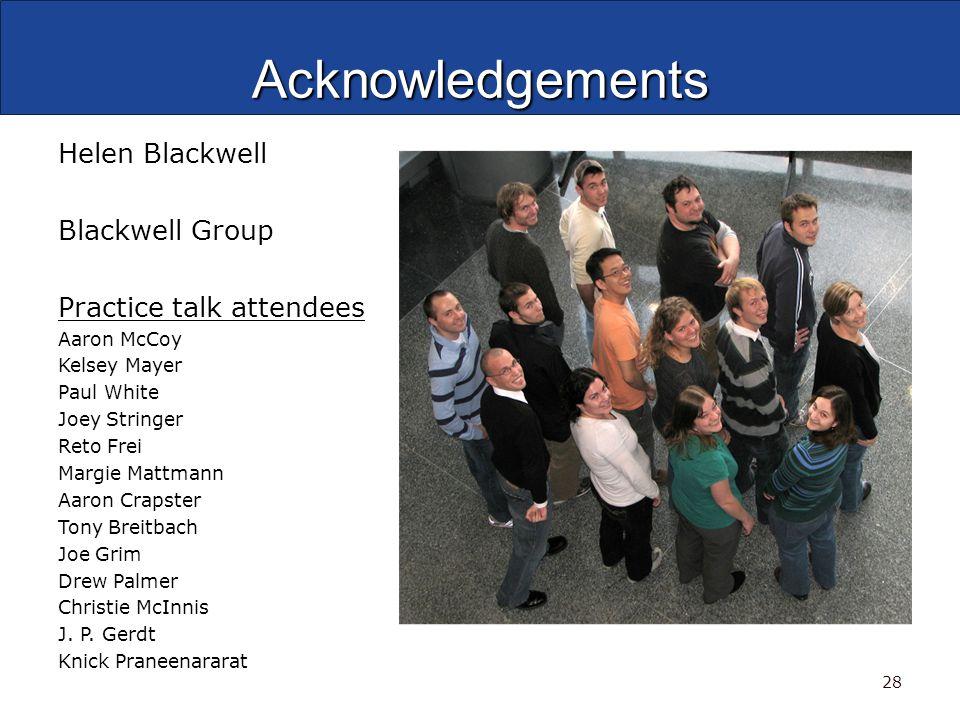 Acknowledgements Helen Blackwell Blackwell Group Practice talk attendees Aaron McCoy Kelsey Mayer Paul White Joey Stringer Reto Frei Margie Mattmann A