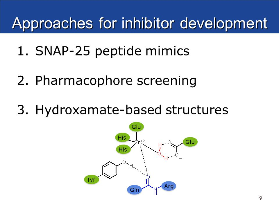 Approaches for inhibitor development 1. SNAP-25 peptide mimics 2.