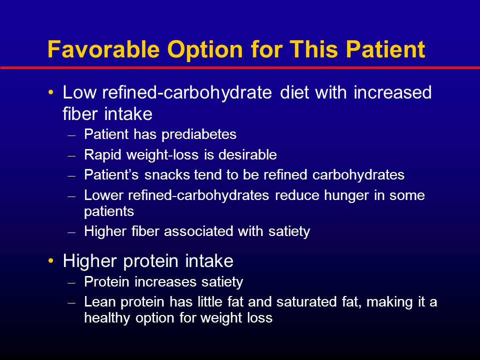 Favorable Option for This Patient Low refined-carbohydrate diet with increased fiber intake – Patient has prediabetes – Rapid weight-loss is desirable – Patient's snacks tend to be refined carbohydrates – Lower refined-carbohydrates reduce hunger in some patients – Higher fiber associated with satiety Higher protein intake – Protein increases satiety – Lean protein has little fat and saturated fat, making it a healthy option for weight loss