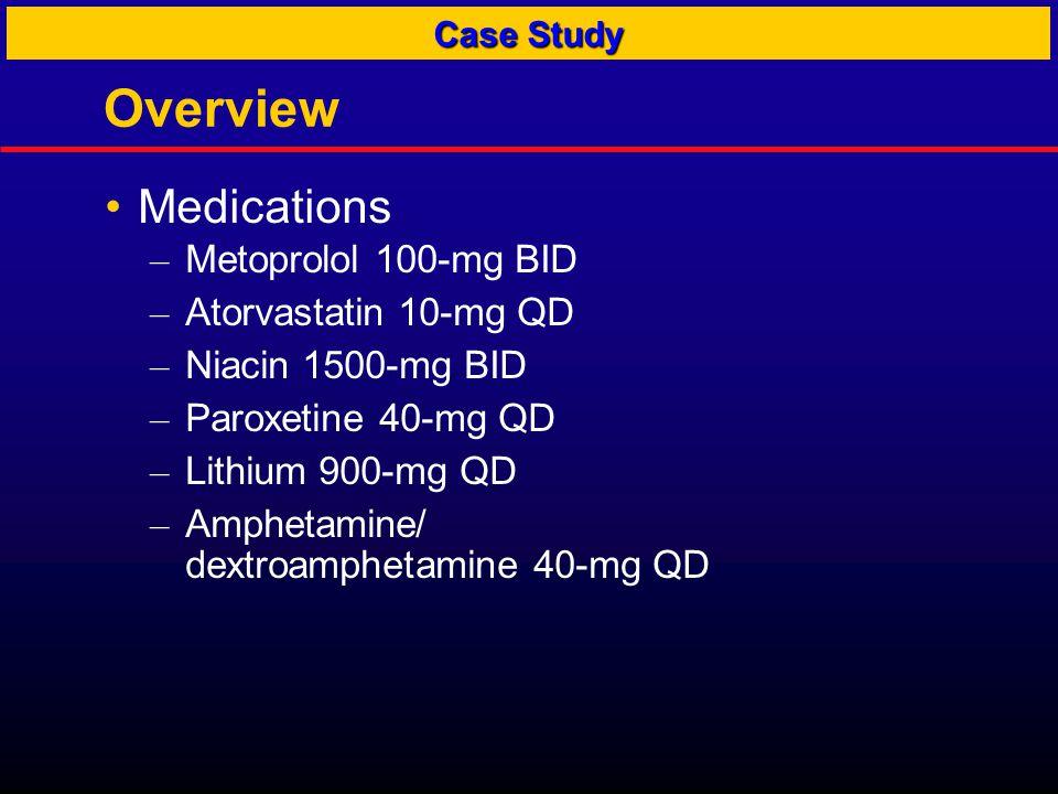 Overview Medications – Metoprolol 100-mg BID – Atorvastatin 10-mg QD – Niacin 1500-mg BID – Paroxetine 40-mg QD – Lithium 900-mg QD – Amphetamine/ dex