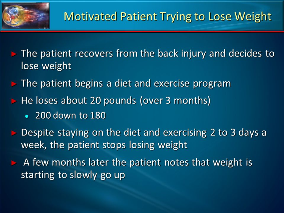 Motivated Patient Trying to Lose Weight ► The patient recovers from the back injury and decides to lose weight ► The patient begins a diet and exercis