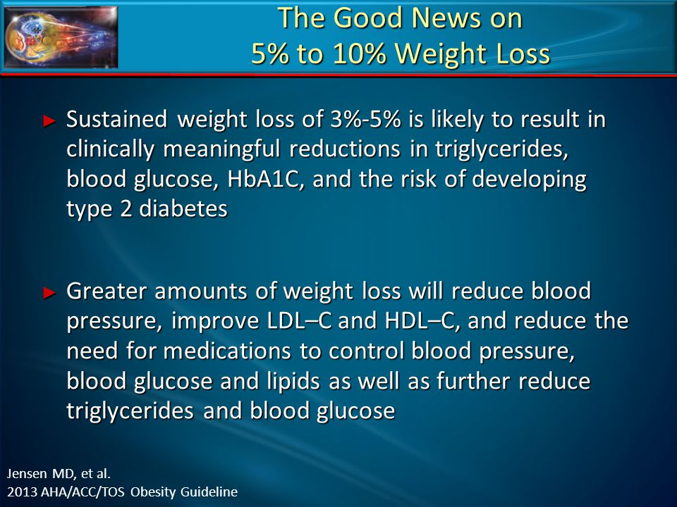 The Good News on 5% to 10% Weight Loss ► Sustained weight loss of 3%-5% is likely to result in clinically meaningful reductions in triglycerides, bloo