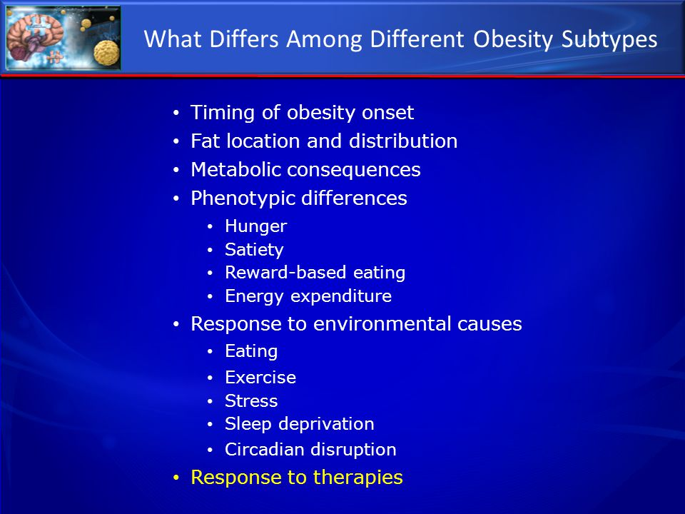What Differs Among Different Obesity Subtypes Timing of obesity onset Fat location and distribution Metabolic consequences Phenotypic differences Hung