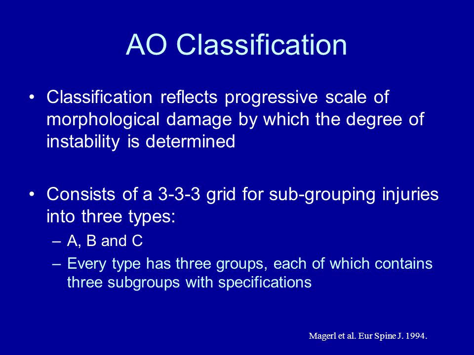 AO Classification Classification reflects progressive scale of morphological damage by which the degree of instability is determined Consists of a 3-3