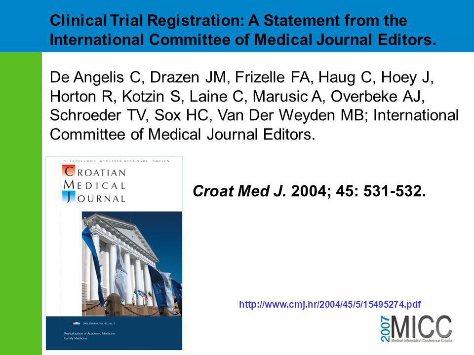 Clinical Trial Registration: A Statement from the International Committee of Medical Journal Editors.