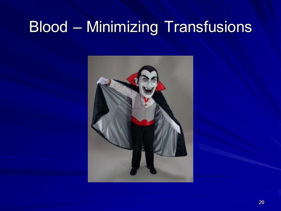 Blood – Minimizing Transfusions 20