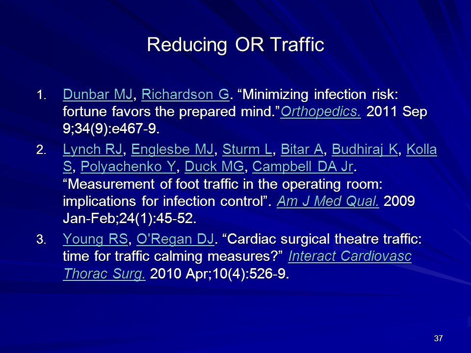 "Reducing OR Traffic 1. Dunbar MJ, Richardson G. ""Minimizing infection risk: fortune favors the prepared mind.""Orthopedics. 2011 Sep 9;34(9):e467-9. Du"