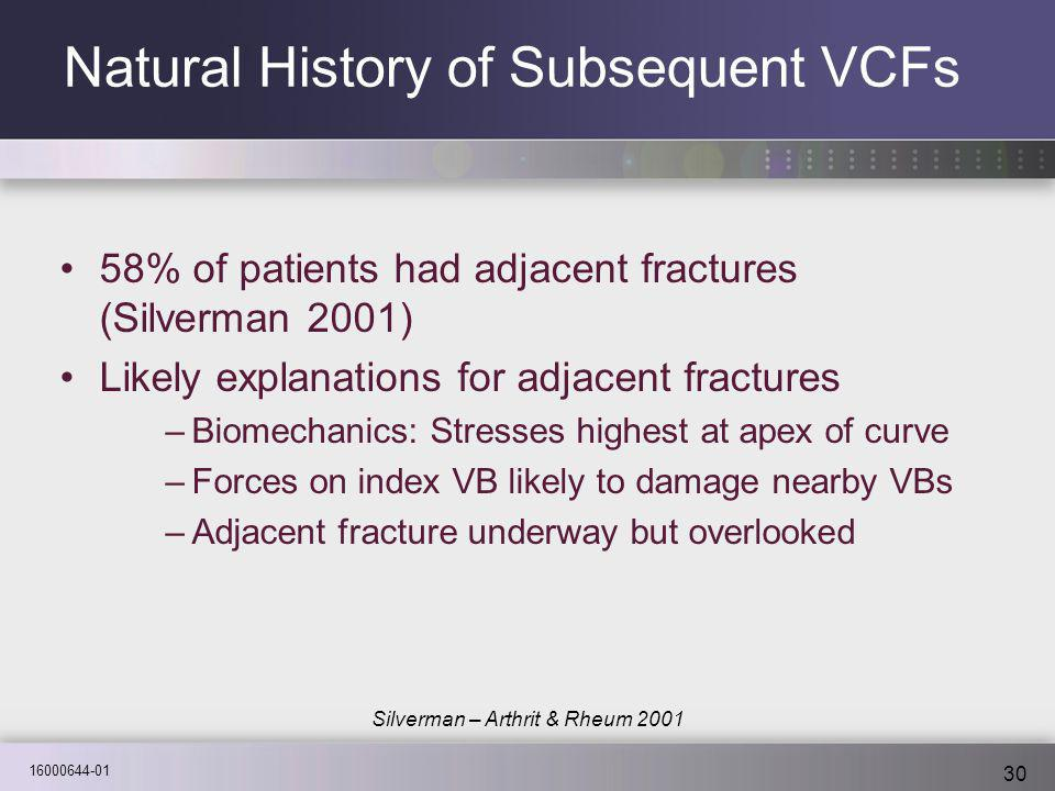 16000644-01 30 Natural History of Subsequent VCFs 58% of patients had adjacent fractures (Silverman 2001) Likely explanations for adjacent fractures –