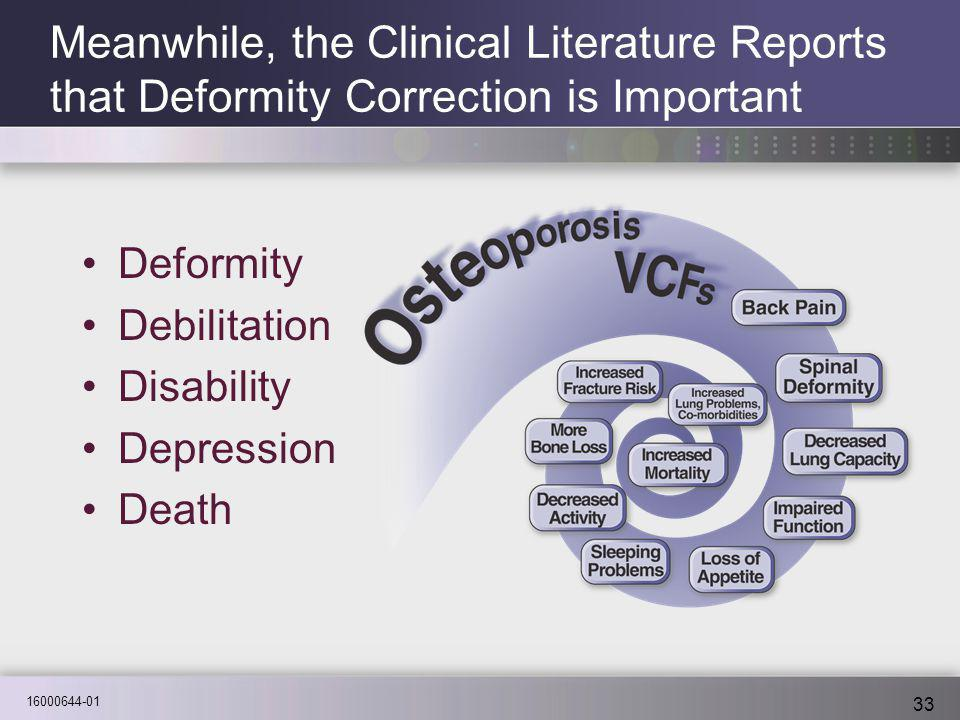16000644-01 33 Meanwhile, the Clinical Literature Reports that Deformity Correction is Important Deformity Debilitation Disability Depression Death
