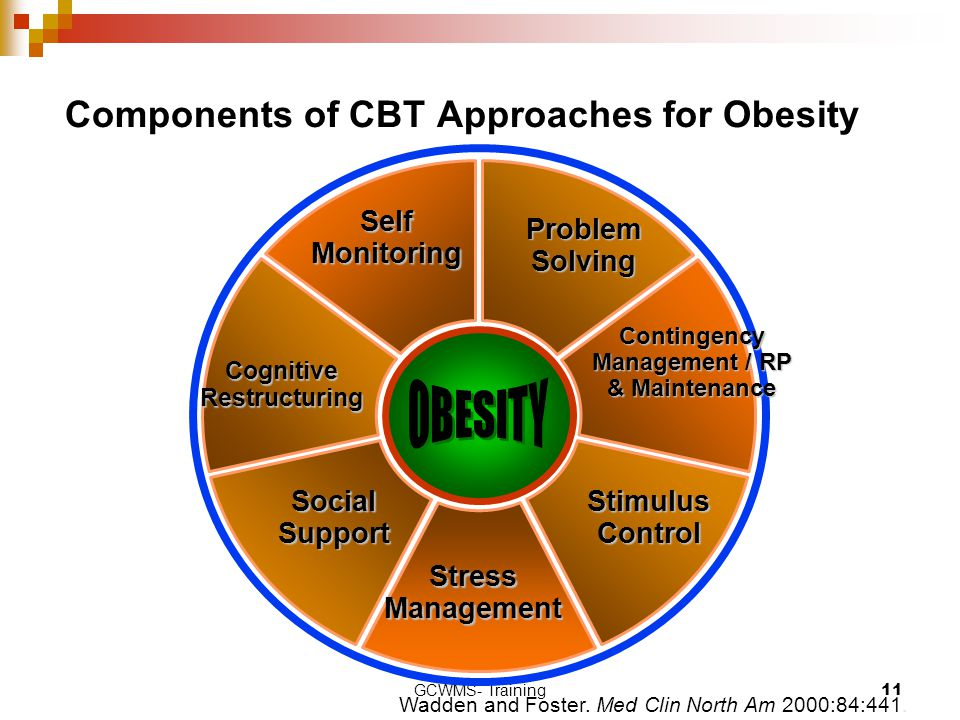 GCWMS- Training11 Components of CBT Approaches for Obesity Wadden and Foster. Med Clin North Am 2000:84:441. Self Monitoring Problem Solving Contingen