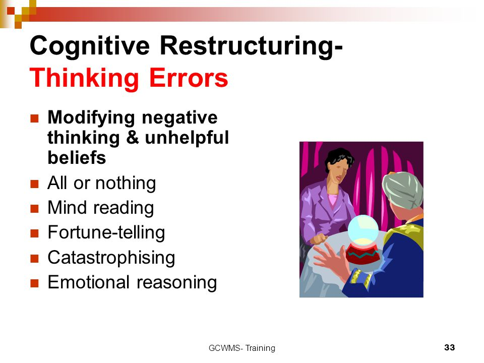 GCWMS- Training33 Cognitive Restructuring- Thinking Errors Modifying negative thinking & unhelpful beliefs All or nothing Mind reading Fortune-telling
