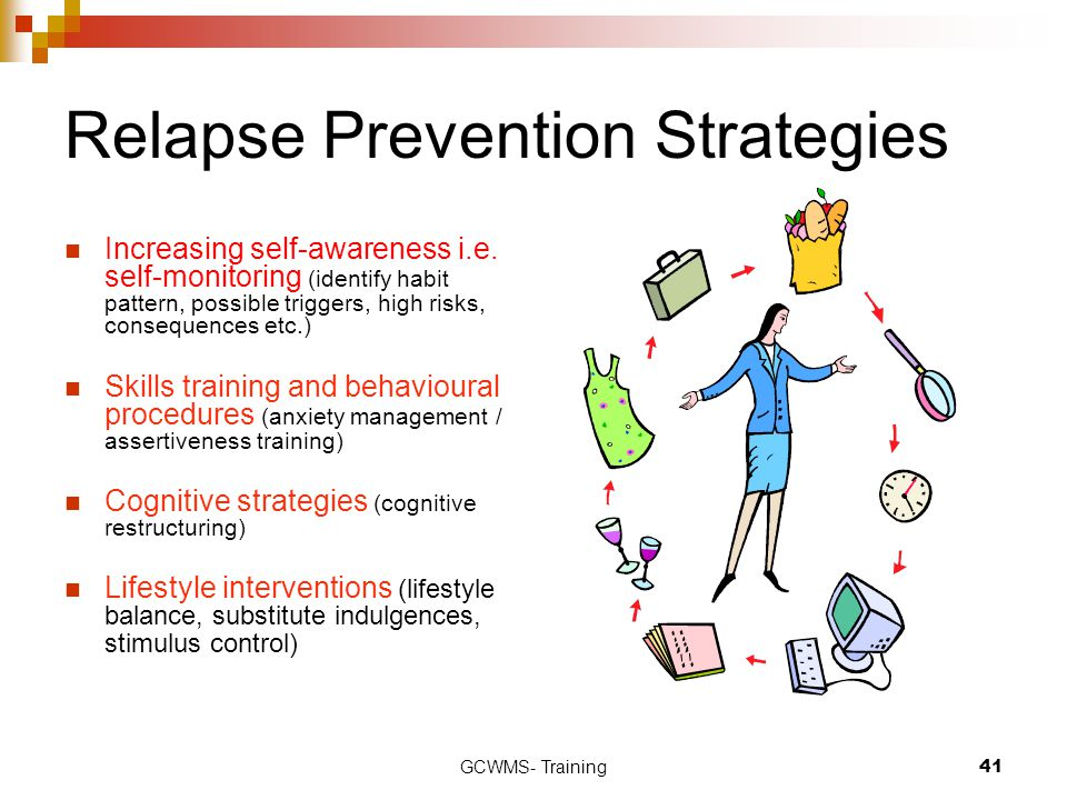 GCWMS- Training41 Relapse Prevention Strategies Increasing self-awareness i.e. self-monitoring (identify habit pattern, possible triggers, high risks,