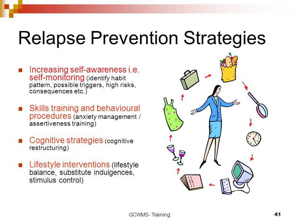 GCWMS- Training41 Relapse Prevention Strategies Increasing self-awareness i.e.