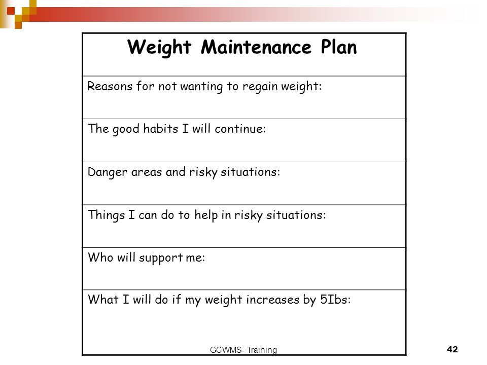 GCWMS- Training42 Weight Maintenance Plan Reasons for not wanting to regain weight: The good habits I will continue: Danger areas and risky situations