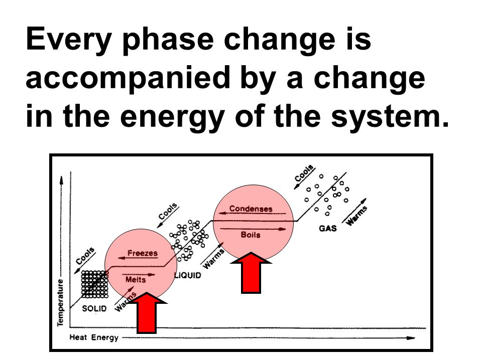 Every phase change is accompanied by a change in the energy of the system.