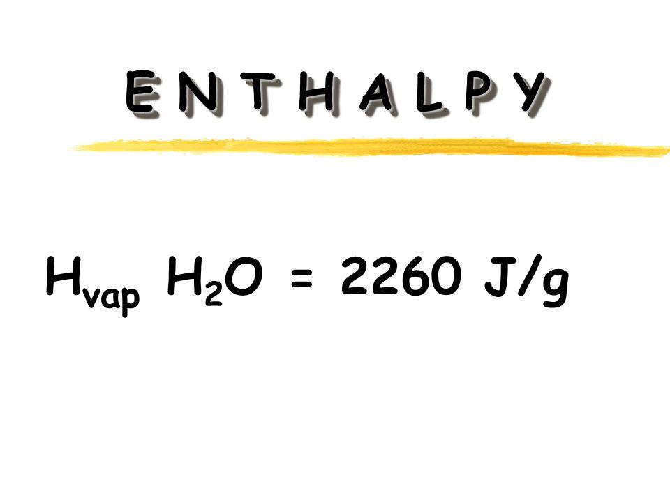 E N T H A L P Y H vap H 2 O = 2260 J/g
