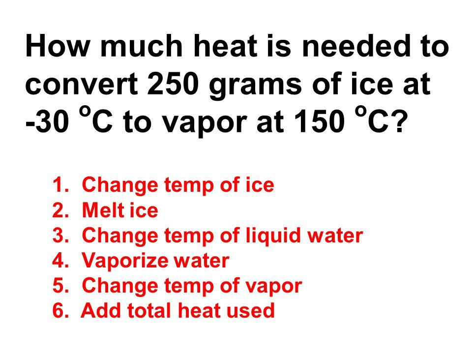 How much heat is needed to convert 250 grams of ice at -30 o C to vapor at 150 o C? 1. Change temp of ice 2. Melt ice 3. Change temp of liquid water 4