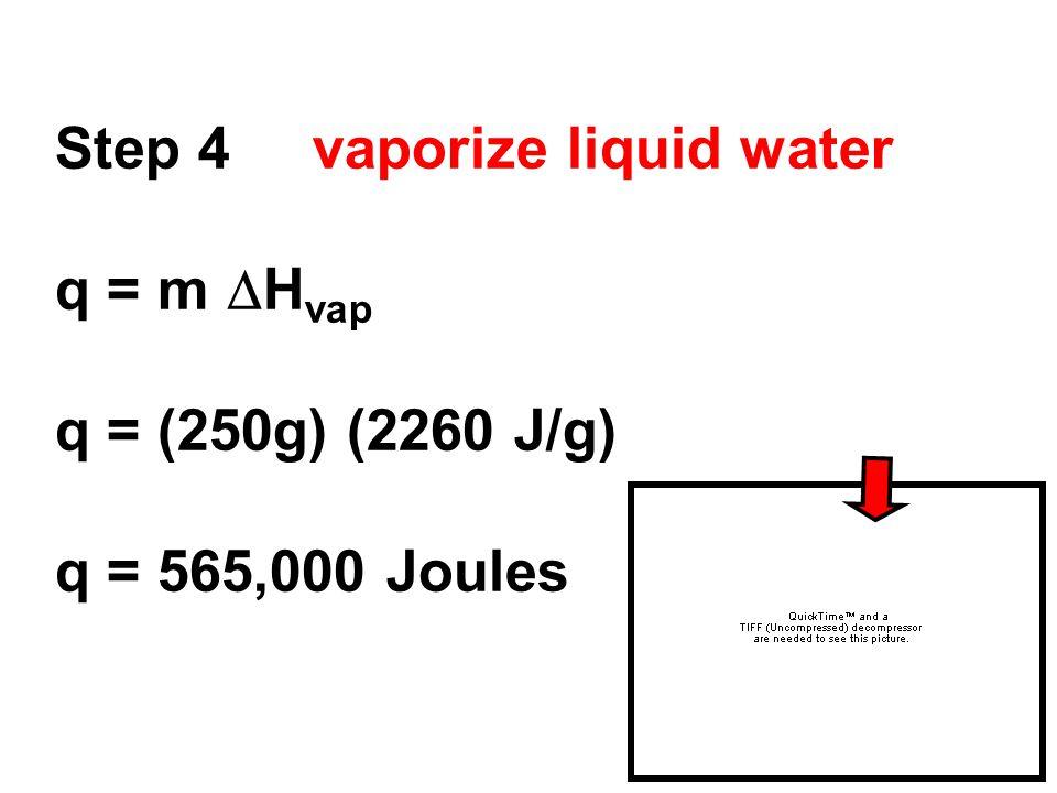 Step 4 vaporize liquid water q = m  H vap q = (250g) (2260 J/g) q = 565,000 Joules