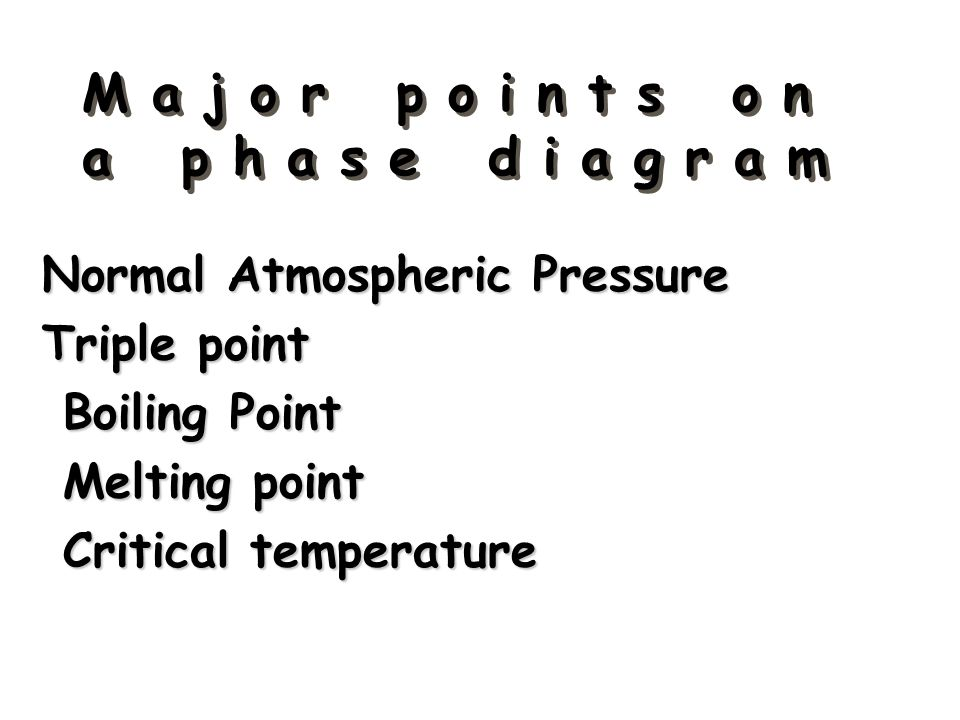 M a j o r p o i n t s o n a p h a s e d i a g r a m Normal Atmospheric Pressure Triple point Boiling Point Boiling Point Melting point Melting point C