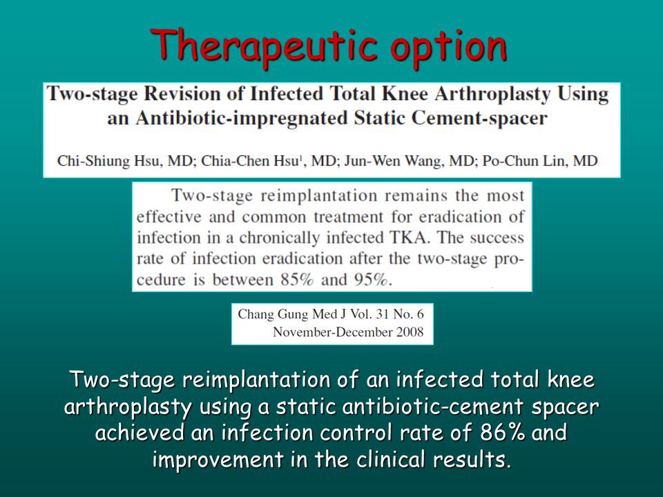 Two-stage reimplantation of an infected total knee arthroplasty using a static antibiotic-cement spacer achieved an infection control rate of 86% and improvement in the clinical results.