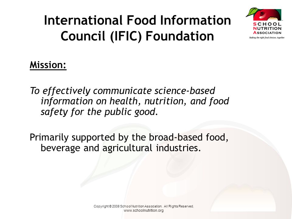 Copyright © 2008 School Nutrition Association.All Rights Reserved.