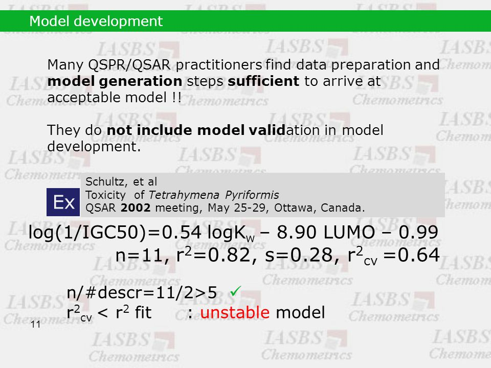 11 Many QSPR/QSAR practitioners find data preparation and model generation steps sufficient to arrive at acceptable model !.