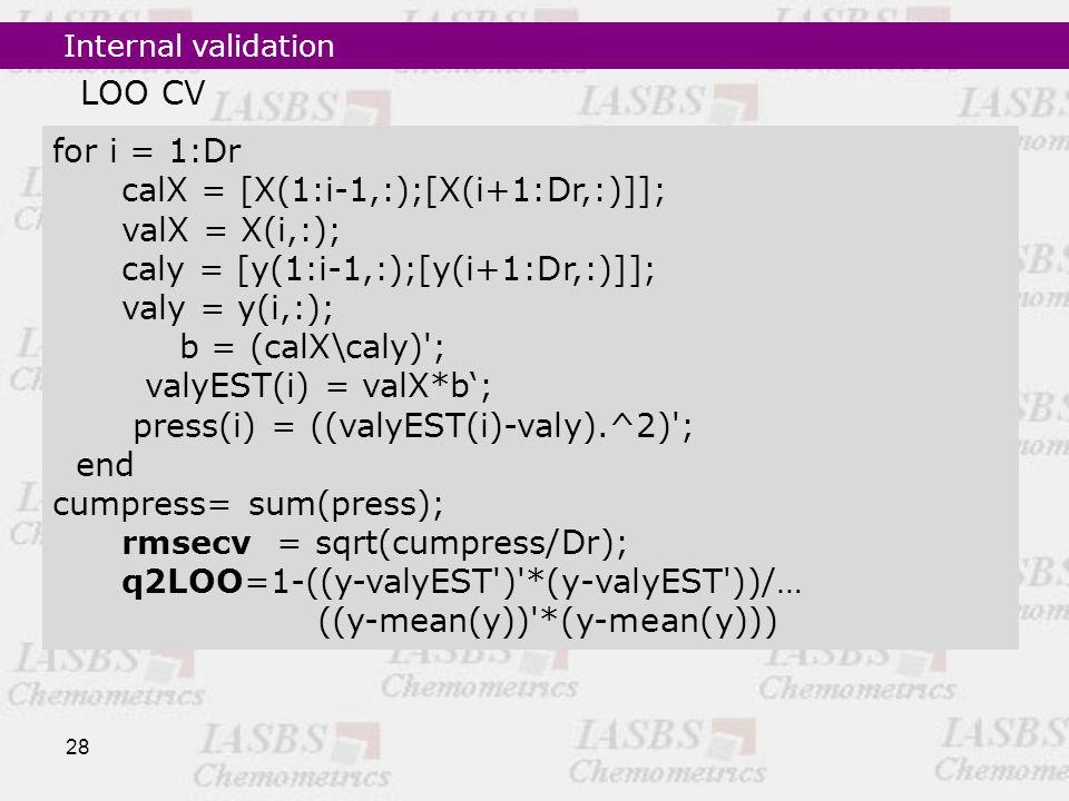 28 for i = 1:Dr calX = [X(1:i-1,:);[X(i+1:Dr,:)]]; valX = X(i,:); caly = [y(1:i-1,:);[y(i+1:Dr,:)]]; valy = y(i,:); b = (calX\caly) ; valyEST(i) = valX*b'; press(i) = ((valyEST(i)-valy).^2) ; end cumpress= sum(press); rmsecv = sqrt(cumpress/Dr); q2LOO=1-((y-valyEST ) *(y-valyEST ))/… ((y-mean(y)) *(y-mean(y))) LOO CV Internal validation