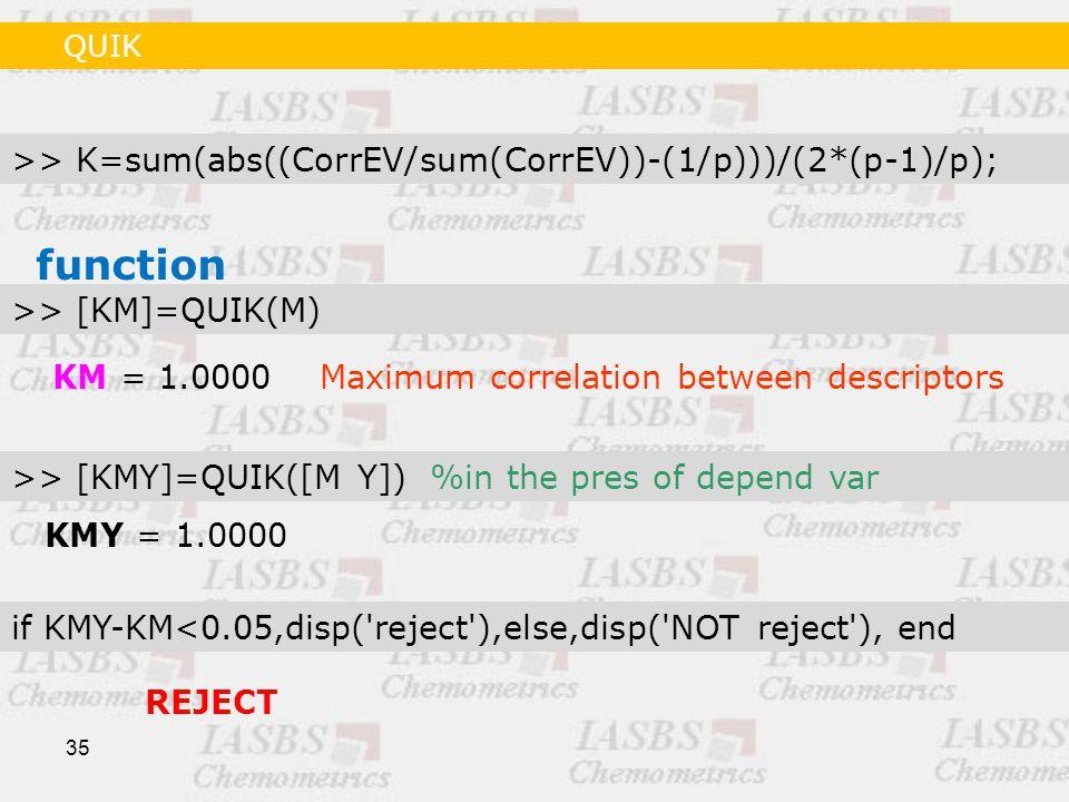 35 >> K=sum(abs((CorrEV/sum(CorrEV))-(1/p)))/(2*(p-1)/p); KM = 1.0000Maximum correlation between descriptors >> [KM]=QUIK(M) function >> [KMY]=QUIK([M Y]) %in the pres of depend var if KMY-KM<0.05,disp( reject ),else,disp( NOT reject ), end KMY = 1.0000 REJECT QUIK