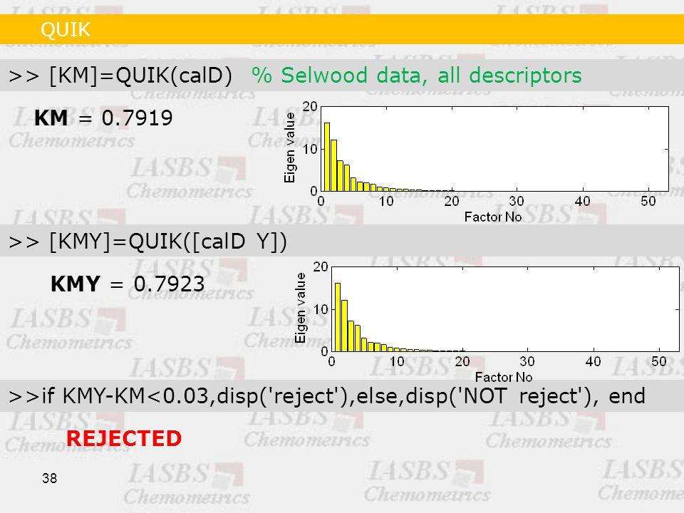 38 KM = 0.7919 >> [KM]=QUIK(calD) % Selwood data, all descriptors >> [KMY]=QUIK([calD Y]) >>if KMY-KM<0.03,disp( reject ),else,disp( NOT reject ), end KMY = 0.7923 REJECTED QUIK