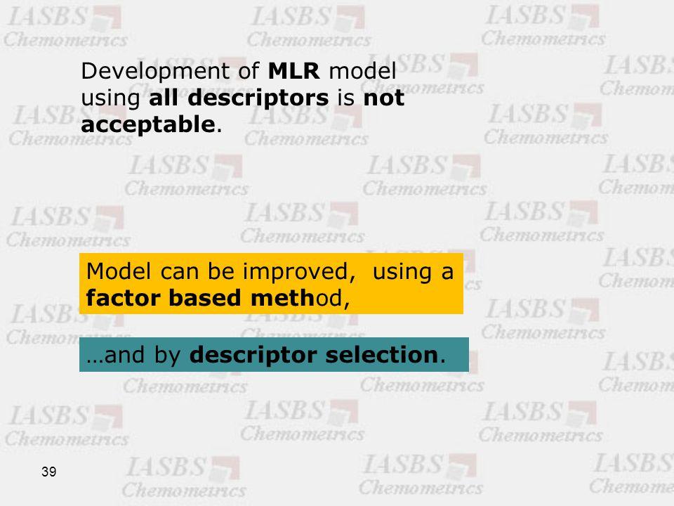 39 Development of MLR model using all descriptors is not acceptable.