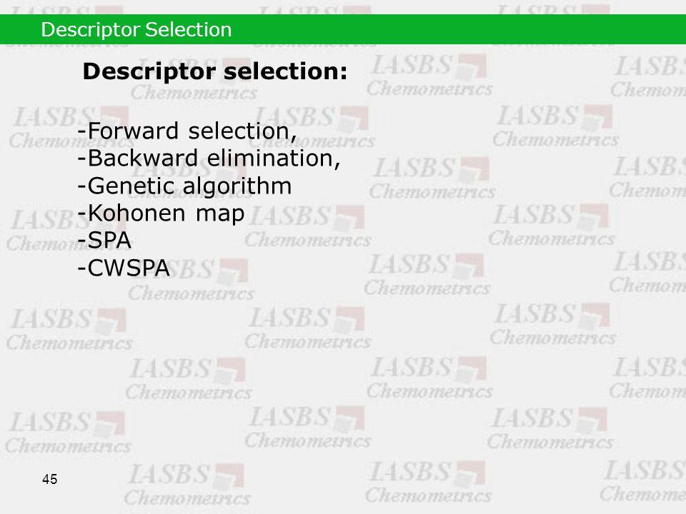 45 Descriptor selection: -Forward selection, -Backward elimination, -Genetic algorithm -Kohonen map -SPA -CWSPA Descriptor Selection