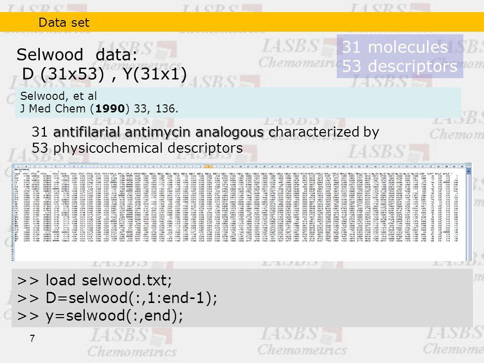 7 Selwood data: D (31x53), Y(31x1) >> load selwood.txt; >> D=selwood(:,1:end-1); >> y=selwood(:,end); 31 molecules 53 descriptors antifilarial antimycin analogous c 31 antifilarial antimycin analogous characterized by 53 physicochemical descriptors Selwood, et al J Med Chem (1990) 33, 136.