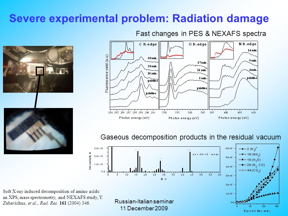 Russian-Italian seminar 11 December 2009 Severe experimental problem: Radiation damage Soft X-ray induced decomposition of amino acids: an XPS, mass-spectrometry, and NEXAFS study, Y.